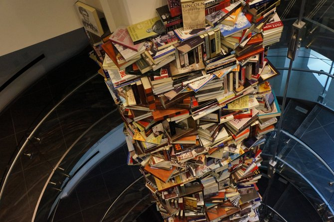 Tower of books at the Lincoln center washington dc.  right across the street from the fords theater.
