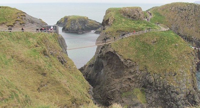 The famous Carrick-a-Rede rope bridge, an hour north of Belfast.