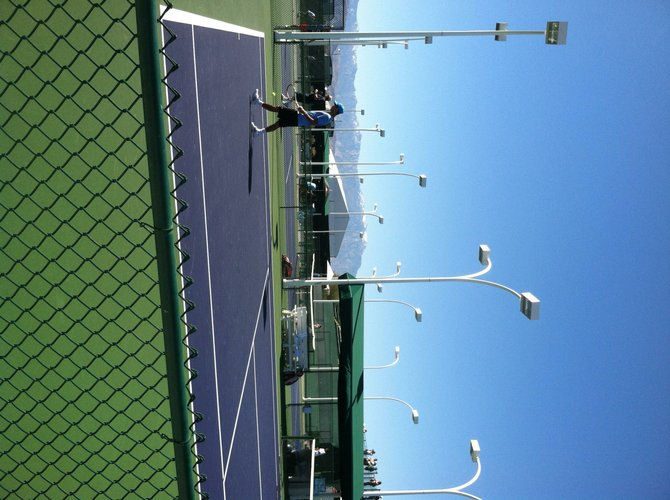 Practice Courts with the snow capped San Jacinto Moutains in the back ground.