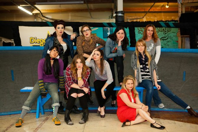DerbyWise cast - Standing (L-R): Monique Hanson, Kristin McReddie, Kat Brown, TiffanyTang; On Bench (L-R): Jyl Kaneshiro, Samantha Wynn Greenstone I, Kathryn Byrd, Molly Maslak; Floor: Cory Hammond; (Not pictured: Haillee Byrd)
