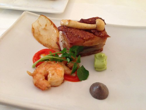 Pork belly, shrimp, and avocado, spicy black bean purees