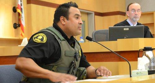 Deputy Marco Weston testified before Judge Kirkman.  Photo Weatherston.
