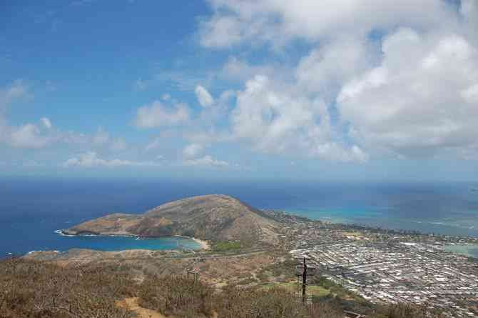 View from the top: Hanauma Bay (left) and environs.