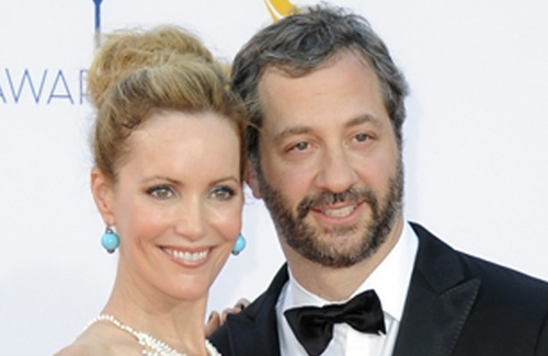 Apatow with his wife, Leslie Mann