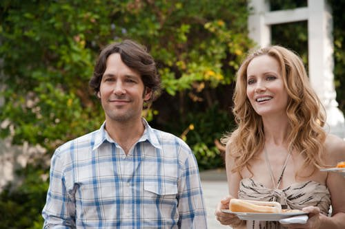 Rudd with Apatow's wife, Leslie Mann
