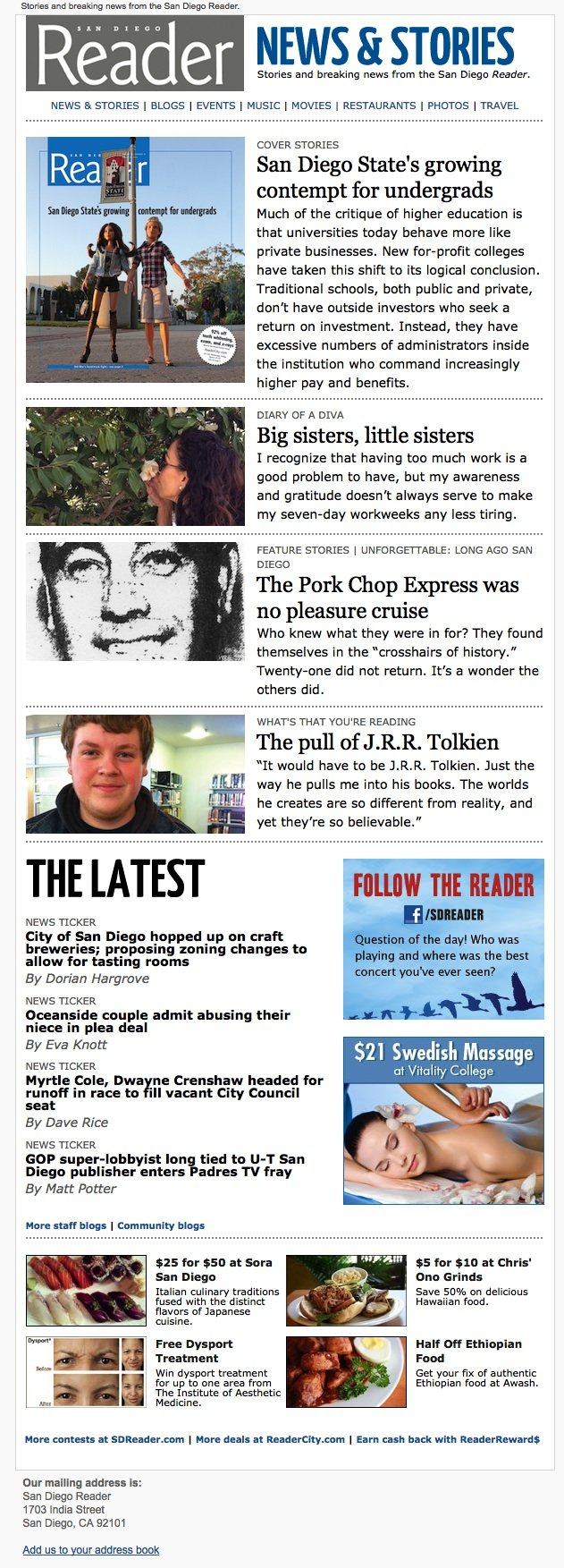 Example of News & Stories newsletter, sent each Wednesday, in conjunction with the release of each new issue.