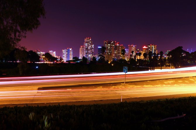 skyline from the 163 freeway