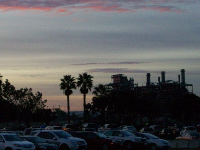 Last photos at daybreak of Chula Vista's South Bay Power Plant before implosion destroyed it.