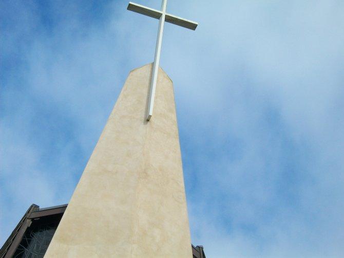 Coronado Church cross looking very tall.