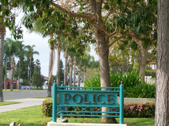 Police sign along Orange Avenue in Coronado.