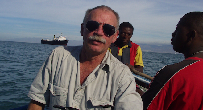 "Max Hardberger, savior to ship owners and modern-day shipping ""pirate."" (Haiti getaway pictured)"