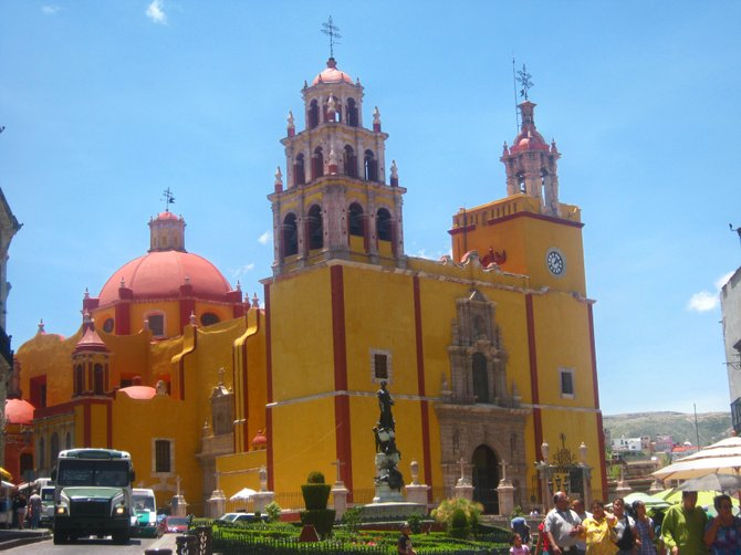 Colorful cathedral in Guanajuato, Mexico
