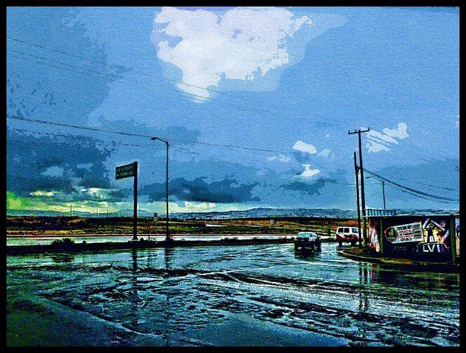 Neighborhood Photos TIJUANA,BAJA CALIFORNIA Rainy day on Otay Section of Tijuana,going towards Main Bus Depot/Dia lluvioso en Otay,bajando hacia Central Camionera.