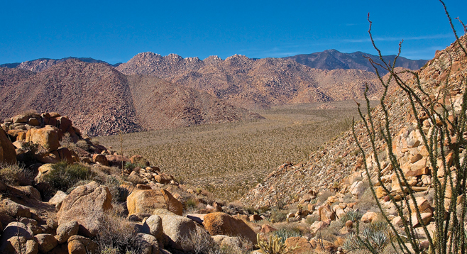 The Sawtooth Mountains loom above the Anza Borrego Desert's Inner Pasture.