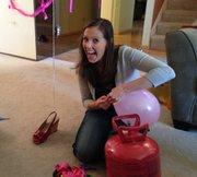 Jenny working the helium tank