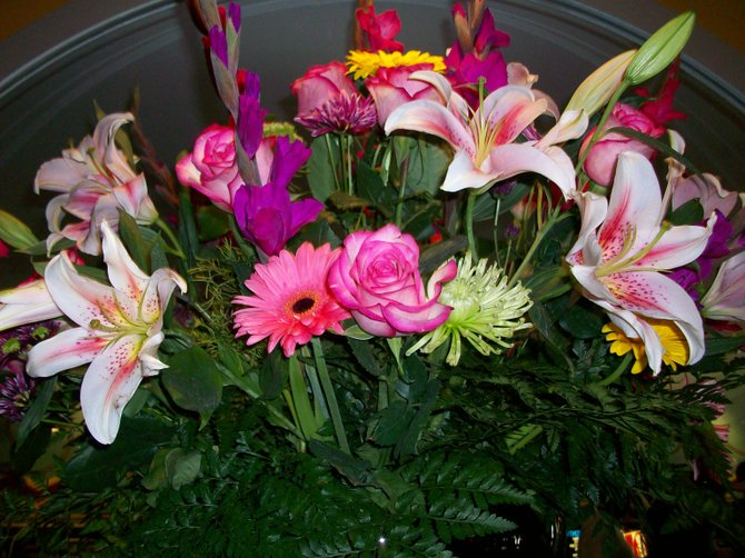 Floral bouquet in lobby of Village Theater in Coronado.