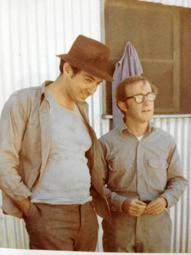 """Mickey Rose and Woody Allen on the set of """"Take the Money and Run."""""""