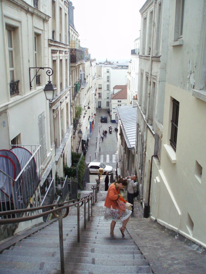 Stairway in Montmartre, Paris.