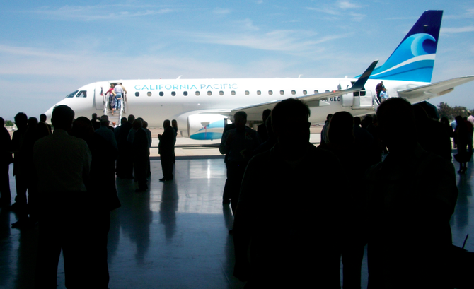 Media-party attendees climbed aboard a California Pacific Airlines' last July