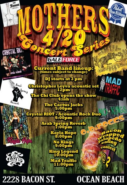 Gale Force and OB Rocks Presents: the Mother's Saloon 420 JAM Sponsored by Pabst Blue Ribbon Beer and Famous Vodka
