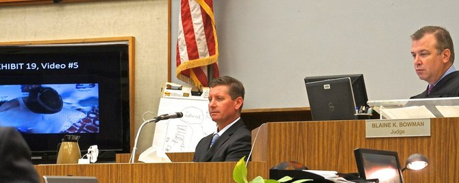 Stepfather Mark Oakley testified in San Diego's North County courthouse today, April 15 2013.  Photo Weatherston.