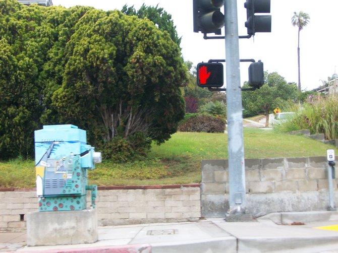 Ocean Beach Pier painted as utility box art at corner of Catalina Blvd. & Narragansett Ave. in Ocean Beach.