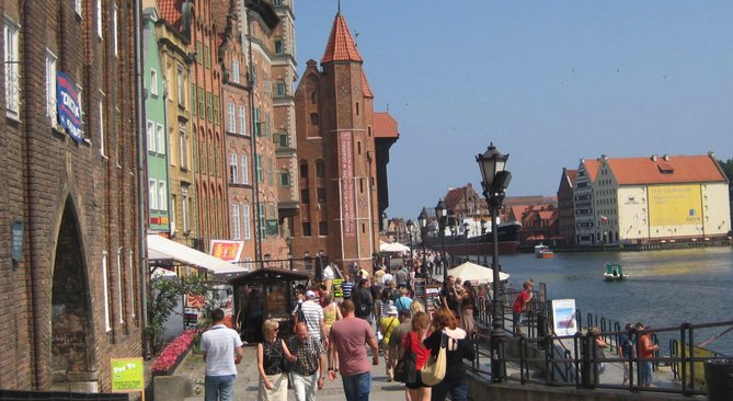 The waterfront in Gdańsk's perfectly preserved Old Town.