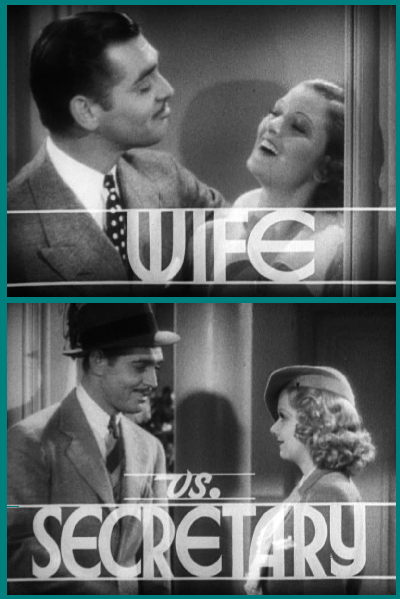 "Clark Gable, Myrna Loy, and Jean Harlow in  the trailer for Clarence Brown's ""Wife vs. Secretary"" (1936)."
