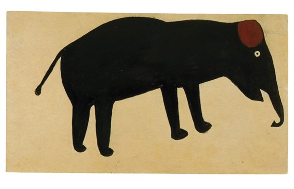 Bill Traylor. Untitled (Elephant), 1939–1940. Poster paint and pencil on paper