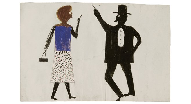 Bill Traylor. Untitled (Man, Woman), ca. 1940–1942. Watercolor and graphite on cardboard