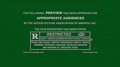 """""""Crude and Sexual Content Throughout, Nudity, Drugs, Drinking, Pervasive Language, Reckless Behavior, and Mayhem -- All Involving Teens?!""""   Where do I get my ticket?"""