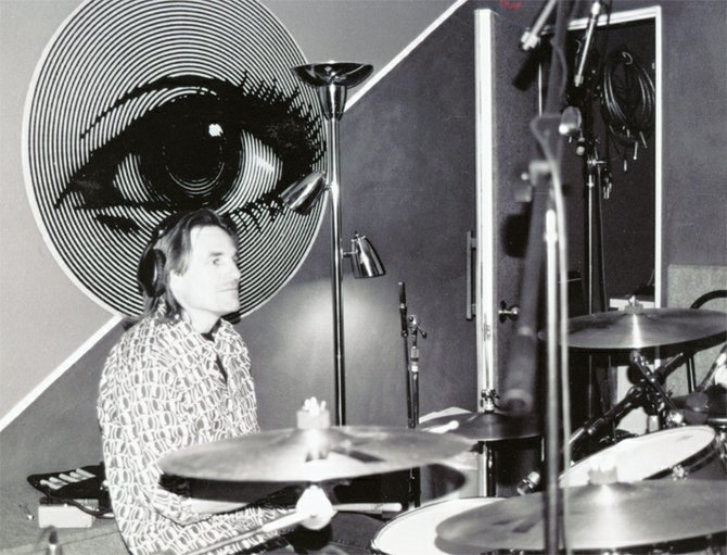 Drummer Joel Kmak at Blitz Recording Studio. Photograph by Melanie Martinez