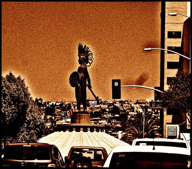 Neighborhood Photos TIJUANA,BAJA CALIFORNIA Emperor Cuauhtemoc dominates Heroe's Promenade in Tijuana's River Zone/ El Emperador Cuahtemoc domina Paseo de los Heroes en la Zona Rio de Tijuana