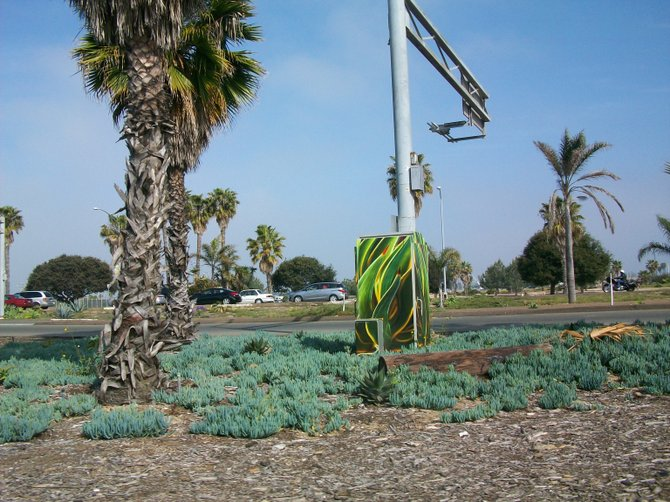 Interesting jungle-leaf themed utility box art near Nimitz Blvd. in Ocean Beach.