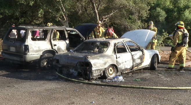 Two cars caught fire at Flynn Springs County Park