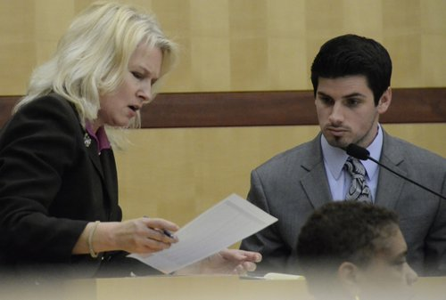 Prosecutor Anna Winn and expert from Lowe's, during testimony.  Photo Weatherston.