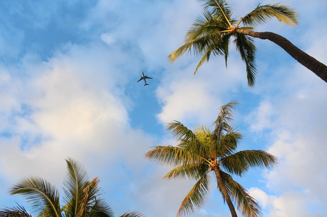 A plane prepares to land in Honolulu, Hawaii.