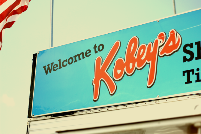 "The classic ""Kobey's"" sign at the San Diego staple, Kobey's Swap Meet, near the San Diego Sports Arena."