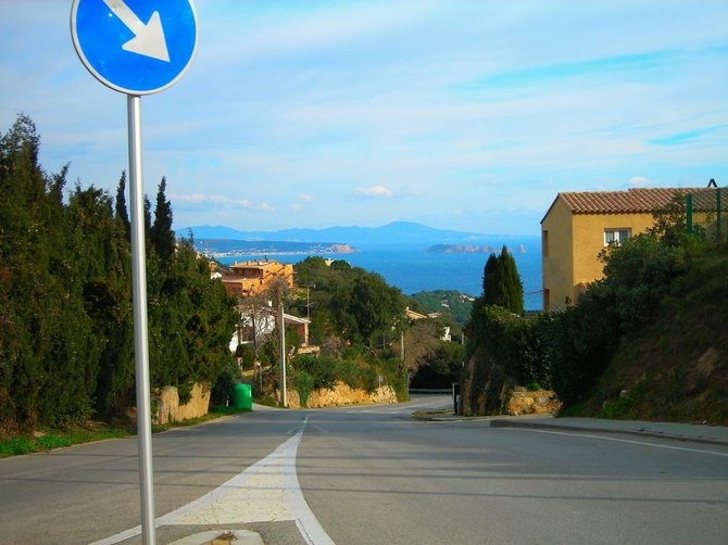 The road that goes to the wild shores of the Costa Brava.