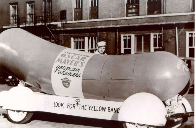The first Wienermobile, built in 1936. Hope for the best, expect the wurst!