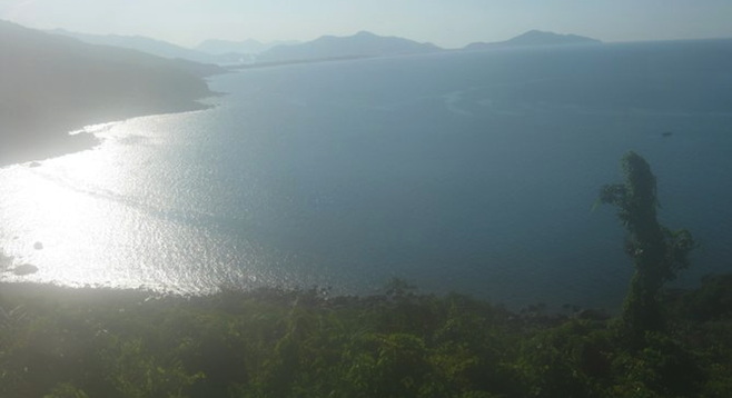 Coastline view from the Reunification train in Vietnam.