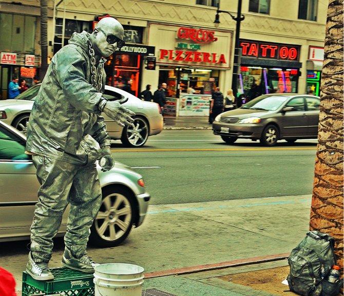 street performers on Hollywood Boulevard