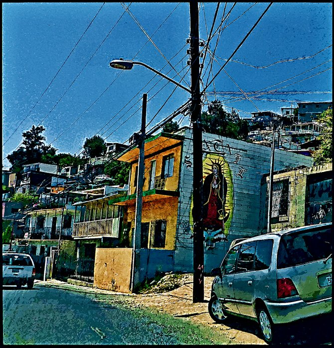Neighborhood Photos TIJUANA,BAJA CALIFORNIA Virgin of Guadalupe mural at Mineral de Santa Fe section of Tijuana/Mural de la Virgen de Guadalupe en la Colonia Mineral de Santa Fe en Tijuana