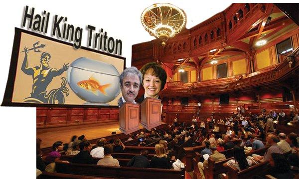 "Chancellor Pradeep Kholsa and associate chancellor Clare Kristofco welcomed Fletcher, whom Kholsa named ""part of the Triton family."""