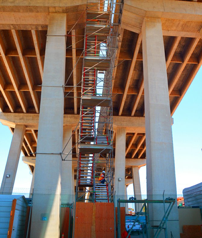 Tue. 5-2-13, Man working under the Coronado Bridge today, Photographer: Robert Chartier