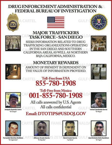 DEA releases poster of most wanted drug traffickers in San