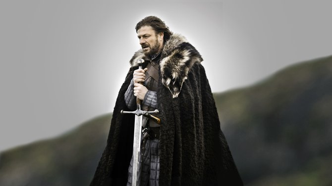 "Eddard Stark and his Valyrian blade ""Ice""."