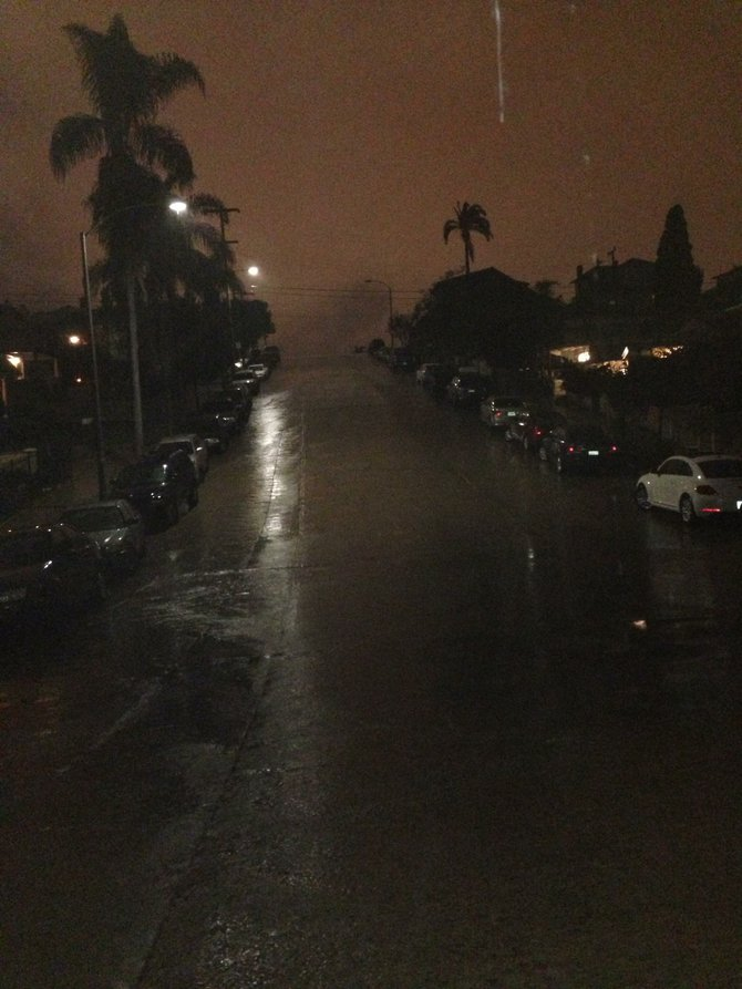 Another beautiful rainy night in Golden Hills. Looking up towards 26th from the bottom of E street