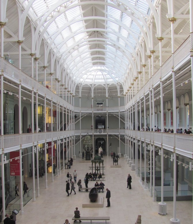 The grand exhibition hall in the National Museum of Scotland
