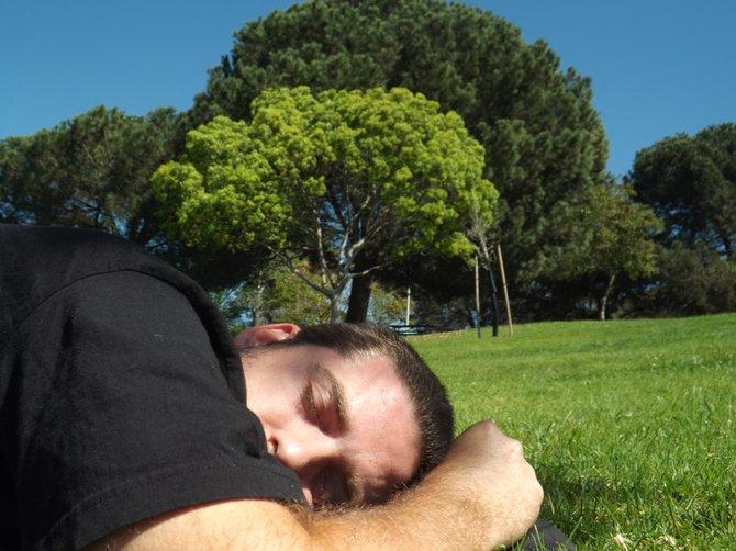 Taking a nap at Lake Poway